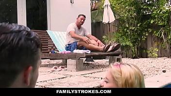 Family Strokes - Slutty Wet Babe (Riley Star) Takes Two Cocks