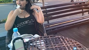 SEXY LATINA BIG BOOBS face agony t. girl with remote vibe outside