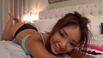 Sexy asain plays with her little toys