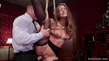 Big cock master fucks ballerina in stockings in one leg in the air bondage then pounds her and maid in threesome