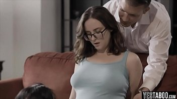 Shy bespectacled chick white gets her pussy and ass fucked at the same time