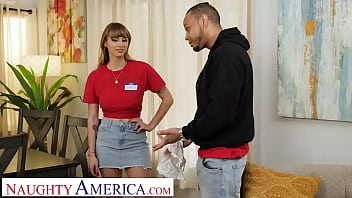 Naughty America - Angel Youngs drops to her knees and starts sucking cock before riding it