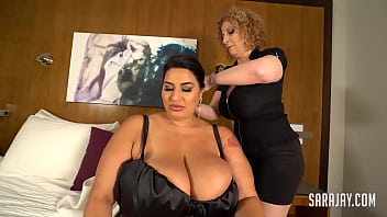 Tattooed Thick Chick, Sofia Rose, allows perverted MILF Sara Jay give an inappropriate massage to her huge boobs, and tongue fuck her curvy pussy! Great service! Full Video & Sara Live @ SaraJay.com!