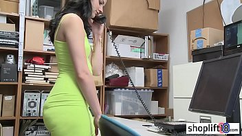 Big ass young girl caught by a cop for shoplifting