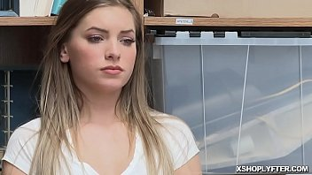 Submissive thief Summer Brooks is caught and fucked in the back office