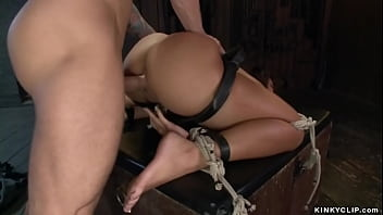 Master Mr Pete ties and gags small tits hot brunette slave Teanna Trump then in bed with big cock fucks her pussy from behind while her ass bouncing
