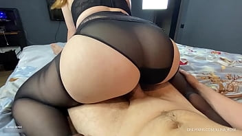 Reverse cowgirl in Ripped Pantyhose
