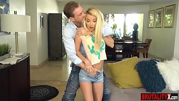 Young tiny stepdaughter gets slammed by her stepdad