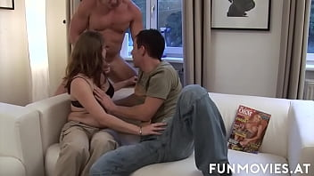 Naughty brown haired babe with natural tits Silke Mausz getting fucked and jizzed in threesome