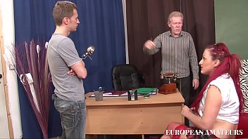 Watch The young red-haired student is punished with two big cocks in her ass in the school principal's office preview