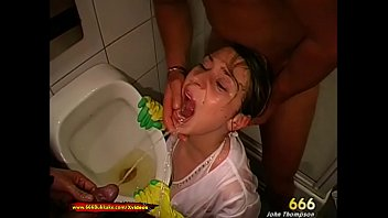 Hottie babe is super horny for a huge pissing gangbang in the toilets! Extreme Pissing only at 666Bukkake!