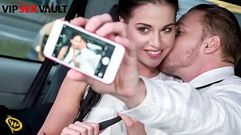 VIP SEX VAULT - #Eveline Dellai - Hot Brunette Fucks On The Car Back Seat With Uber Boy