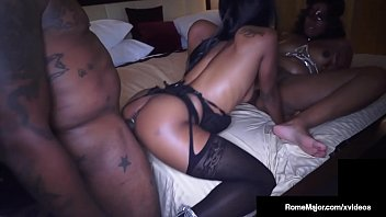 Big Black Stallion Rome Major gets his big black cock sucked, fucked & milked by two hot ebony beauties who bust his black nut wide open! Full Video & Rome Fucking More Chicks @ RomeMajor.com!