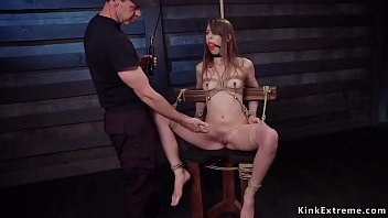 Pretty and kind natural brunette beauty Zoey Laine gets nipples clamped and pussy fingered in sitting bondage then fucked in threesome
