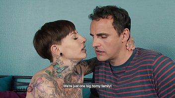 Sexy German MILF with tattoos and piercings seduces her stepbrother