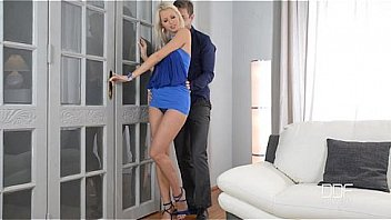 Horny Blonde Seductress in Blue Stilettos