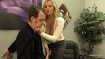 Curvy cock stroking MILF Julia Ann makes sure her dirty step son is free of sinful thoughts by jacking him off and letting him lay his head on her big tits! Full Video & Julia Live @ JuliaAnnLive.com!