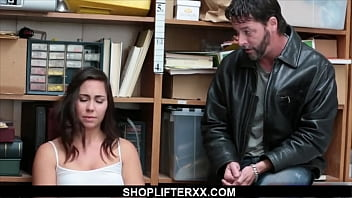 Teen shoplifter fucked by security while dad watches - shopl