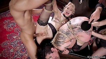 Huge tits dom Aiden Starr anal fisting huge tits alt brunette slave Arabelle Raphael while blonde slave Chloe Cherry anal fucking at bdsm orgy party