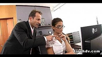 Naughty secretary caught smoking and being punished