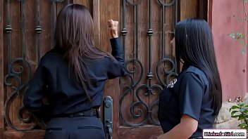 Two busty female officers are pussylicking a lesbian couple