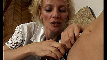 Blonde milf seduces a young guy