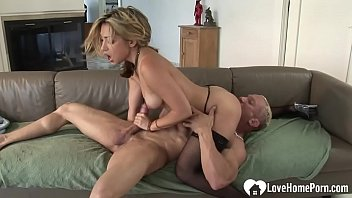 She loves to wear stockings while he is fucking her as deep as possible.