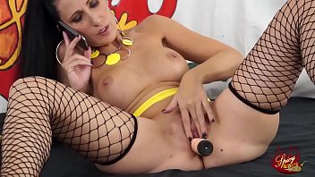 Watch Luna Dark wear fishnet stockings and use a nice dilo to play with her pussy preview