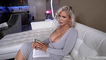 Blonde MILF Casca Akashova swallows a huge dick