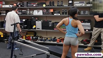 Babe sucks off and gets her sweet coochie pounded good by nasty pawn guy inside his pawnshops office