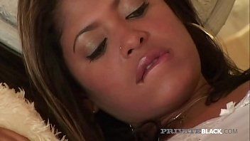 Brown skinned hottie Sandy Rio opens up her juicy pussy & tiny asshole to get 2 huge black dicks in this interracial threesome by PrivateBlack.com!
