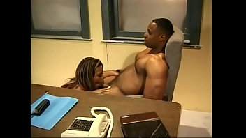 Very sexy black girl gets fucked in different positions in the office