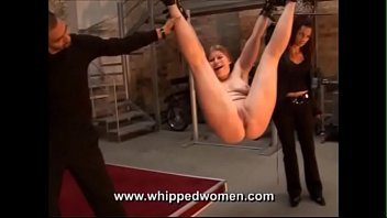 Worthless maid is whipped senseless:  Suspended with legs spread for the whip