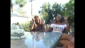 Three interracial babes get their clit licked outdoor