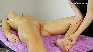 Virgin pussy massaged until orgasms