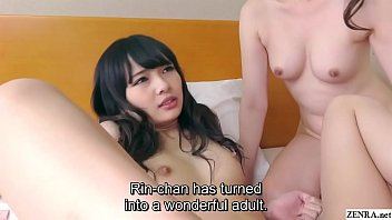 Japanese taboo sex FFM threesome by skilled pickup artist has him going raw into shaved daughter first in missionary and then again cowgirl while her mother rests on his face in HD with subtitles