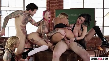 Big tits, tattoos in wicked group sex action in the classroom