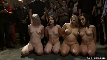 Mistress presenting four slaves leaded by Roxanne Rae in public underground dungeon and then making them sucking and anal gangbang fucking