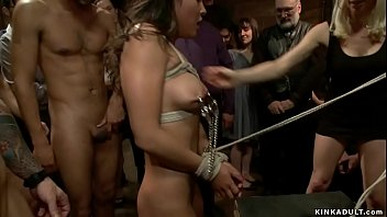 Tied and gagged brunette all natural Latina slave Adrianna Luna is tormented and humiliated by mistress Lorelei Lee then bbc fucked at crowded public place