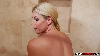 Crazy stepson got a blowjob from his dirty wet stepmom
