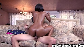 Ebony chick with abs and small tits gets fucked by a big white dick
