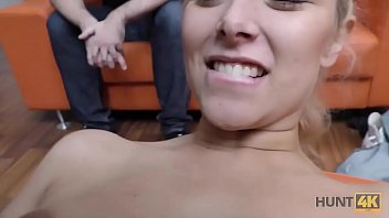 HUNT4K. Babe gets banged by rich man in front of silly cuckold