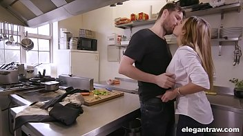 Kitchen hardcore fun in a 3some with 2 babes and a big hard dick