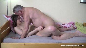 Babe Tastes Old Perv's Hot Jizz