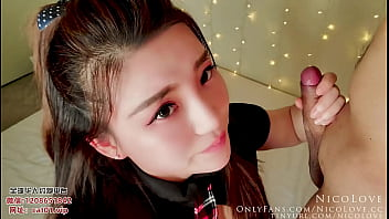 Chinese Girlfriend in Uniform Giving Passionate Blowjob And Getting a Facial - NicoLove