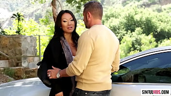 Older guy tasting Asa Akira's wet cunt with his tongue, fingers and cock