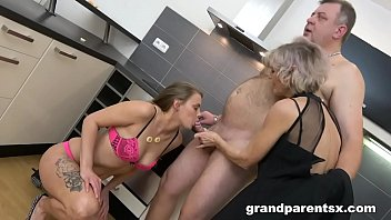 Grandparents fucking young babe and cum on her ass