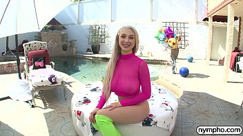 Sexy blonde with big natural tits has her pussy stretched wide by a big dick