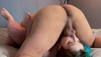 Massive Cum Facial & Throatpie For Slutty White Chick Upside Down 69