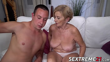 Granny drilled by hard young dick
